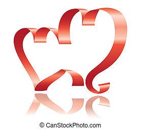 corações, quadro, dois, fita