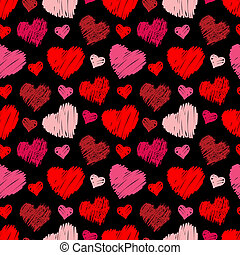 corações, seamless, padrão