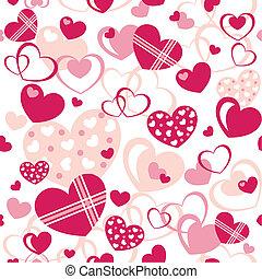 corações, -, seamless, padrão