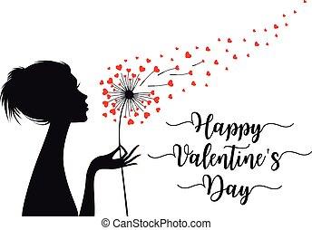 corações, vetorial, valentines, dandelion, mulher, cartão, segurando, dia