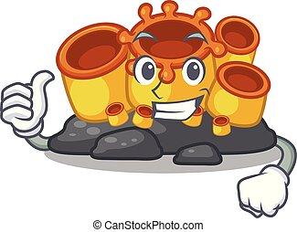 coral, isolado, cima, esponja, polegares, laranja, caricatura