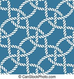 corda, padrão, seamless, náutico
