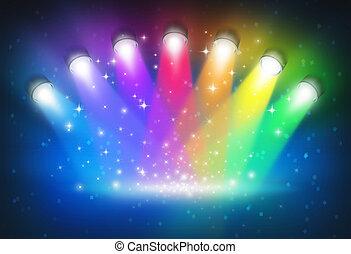 cores, arco íris, holofotes