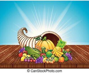 cornucópia, madeira, legumes, outono, frutas, tabela