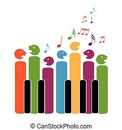 coro, teclas piano