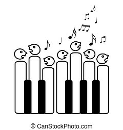 coro, teclas, piano