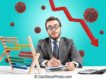 coronavirus, homem negócios, preocupado, econômico, devido, problemático, recessão, crisis., pandemic, covid-19
