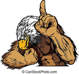 corporal, águia, vetorial, caricatura, mascote