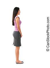 corporal, cheio, fêmea asiática, vista lateral