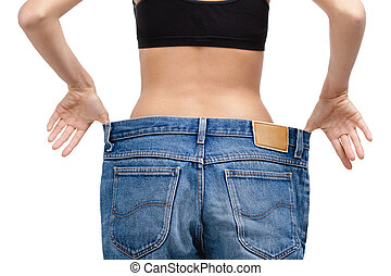 corporal, desgastar, enorme, adelgaçar, calças brim, menina