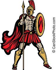 corporal, escudo, lança, spartan, ilustração, vetorial, mascote