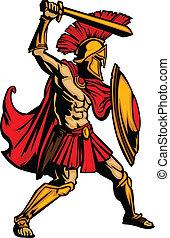 corporal, escudo, spartan, ilustração, vetorial, espada, mascote