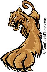corporal, puma, mascote, gráfico, prowling