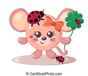 corporal, segurando, sorte senhora, engraçado, bom, quatro-folha, bugs, sorrindo, trevo, rato, redondo, cute