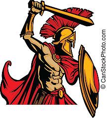 corporal, trojan, s, espada, mascote