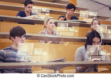 corredor, estudantes, seu, conferência, trabalhando, concentrado, futuro