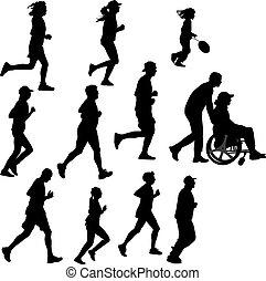 corredor, pessoa, paraplégico