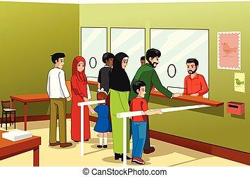 correio, ilustração, pessoas