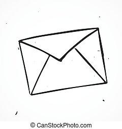 correio, isolado, vetorial, mão, desenhado