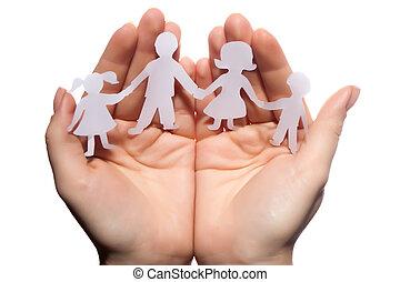 corrente, família, papel, cupped, protegido, fundo, mãos, branca