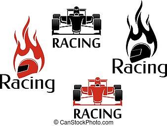 corrida carro, motorsport, ícones