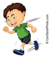 corrida menino, camisa verde