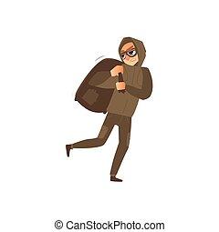 corridas, assaltante, afastado, máscara, saco, ladrão, pilhe