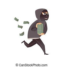 corridas, assaltante, dinheiro, afastado, máscara, ladrão, pretas