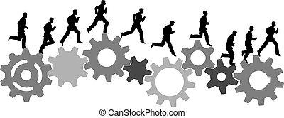 corridas, industrial, máquina empresarial, engrenagens, pressa, homem