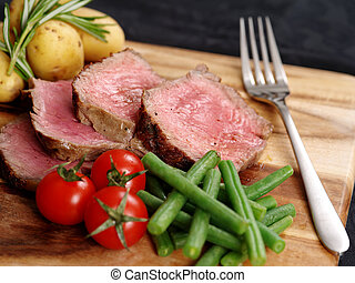 cortado, jantar, bife
