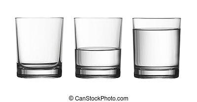 cortando, cheio, isolado, vidro água, baixo, metade, included, caminho, branca, vazio