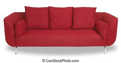 cortando, sofá, isolado, comfy, caminho, branca, sofá, vermelho