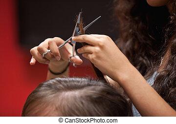 corte cabelo, cima fim, mão