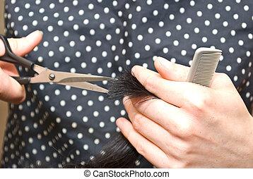 corte, close-up, cabelo