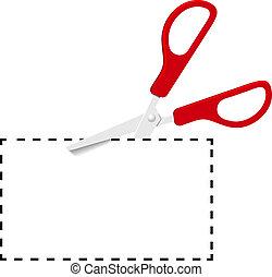 corte, pontilhado, cupão, tesouras, linha, vermelho, saída