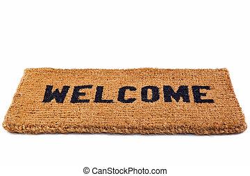 corte, tapete, bem-vindo, saída