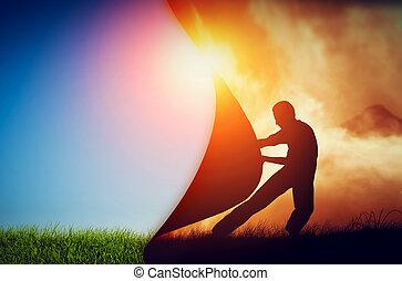 cortina, puxando, escuridão, novo, melhor, homem, world., revelar, change.