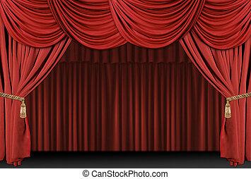 cortina, teatro, fundo, fase