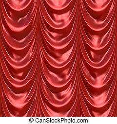 cortina, vermelho, cortinado