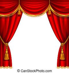 cortina, vermelho