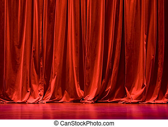 cortinas, veludo, vermelho, fase