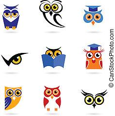 coruja, ícones, logotipos
