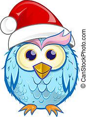 coruja, fundo, caricatura, isolado, christmas branco