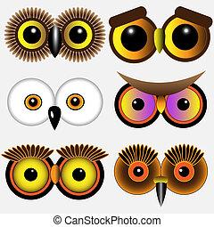 corujas, olhos