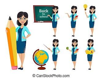 costas, school., professor, caricatura, mulher, personagem