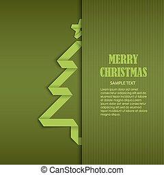 costurado, árvore, dobrado, papel, verde, modelo, cartão natal