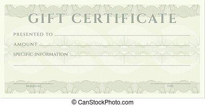 coucher, cupão, certificado presente