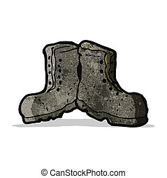 couro, caricatura, botas