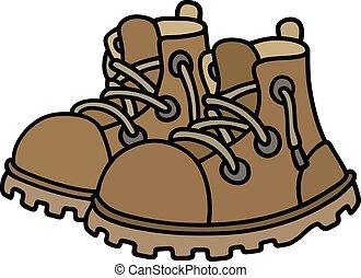 couro, engraçado, botas