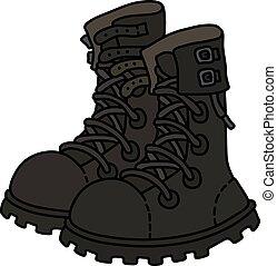 couro, militar, pretas, sapatos